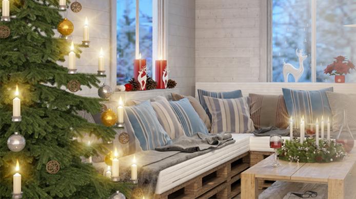Salon przystrojony na Święta